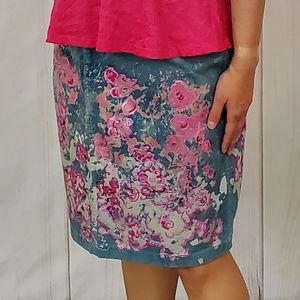 Hand-painted Jean Skirt Floral Sz 10 Liz Claiborne